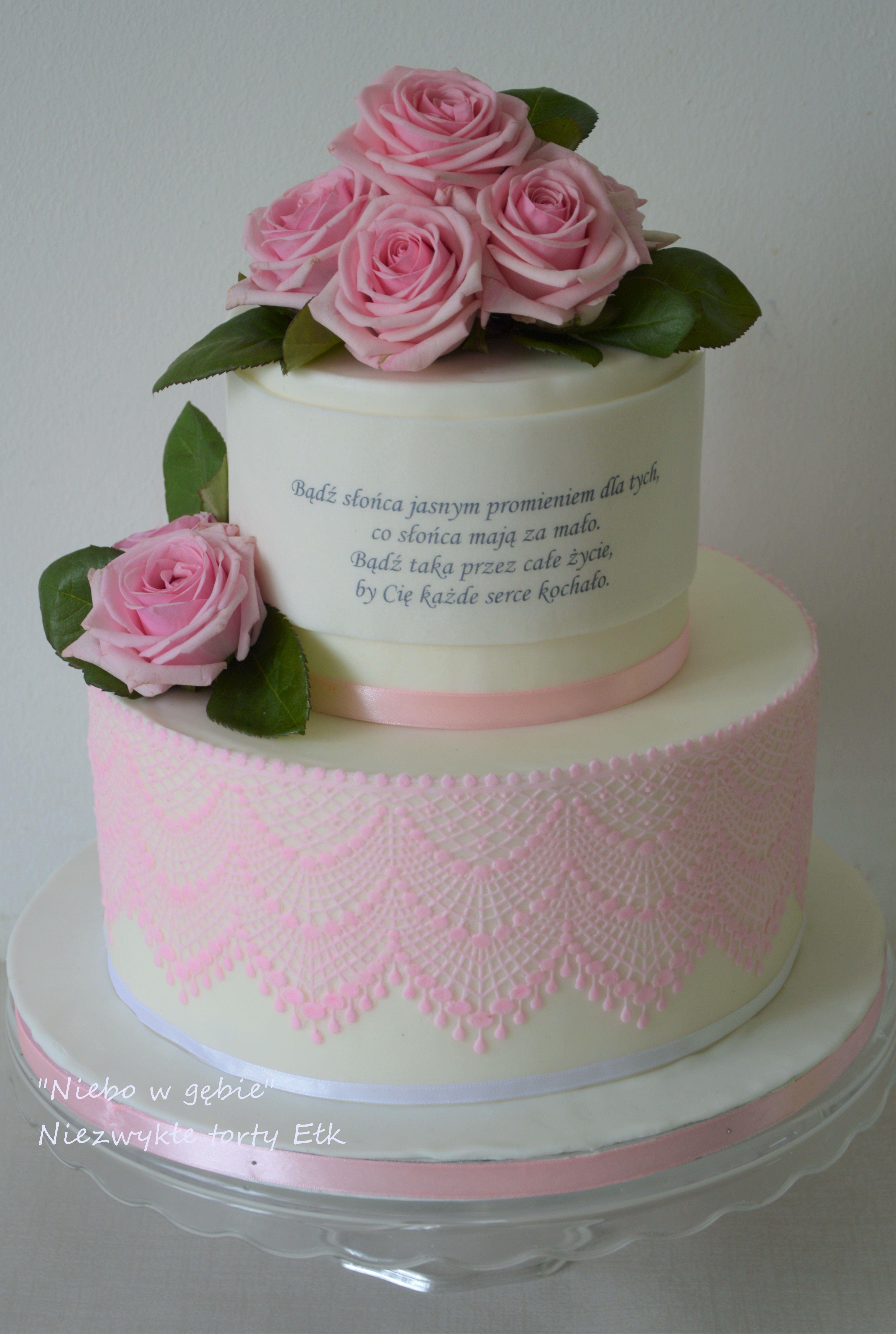Tort Elegancki Roze Kwiaty Koronka 80urodziny Sentencja Cake Desserts Food