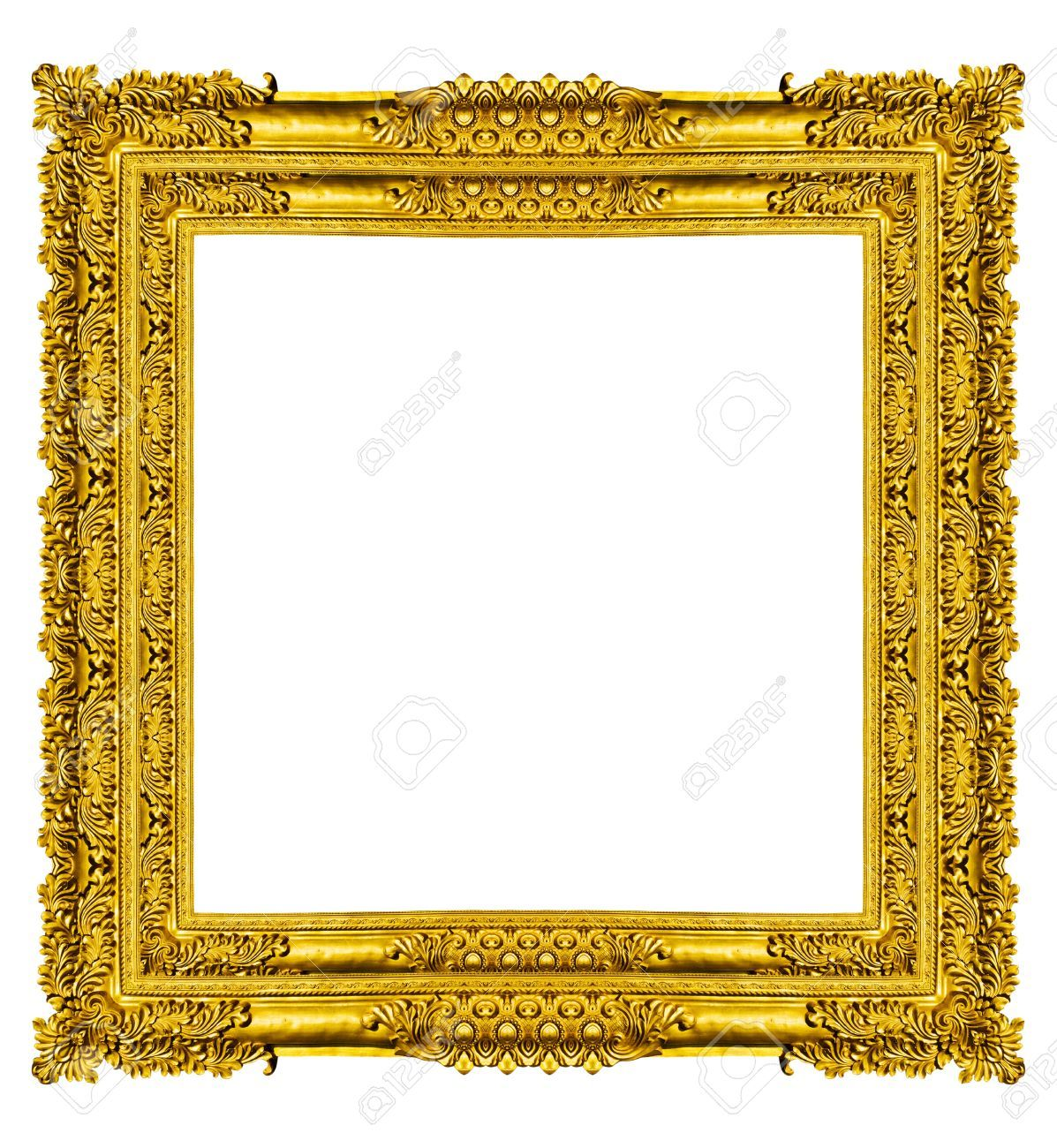 Empty Golden Vintage Frame Isolated On White Background Vintage Frames Frame Gold Picture Frames