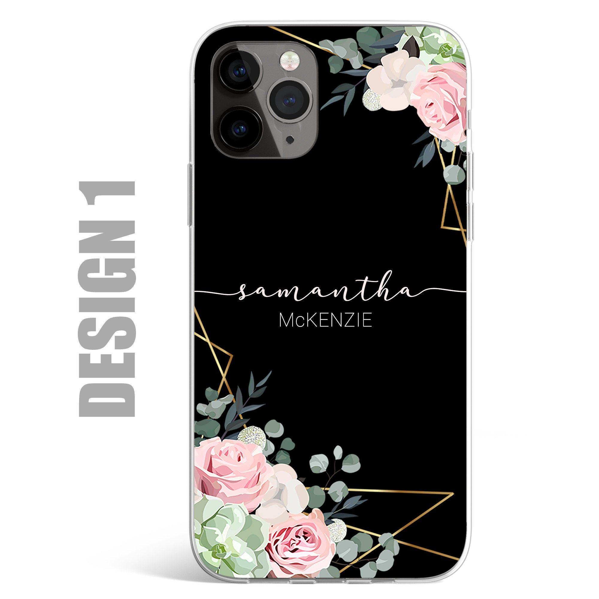 Personalised Phone Case Cover initials Name Floral Flower Custom for Samsung & Apple iPhone 11 6 7 8 X XS Max XR Pro Plus