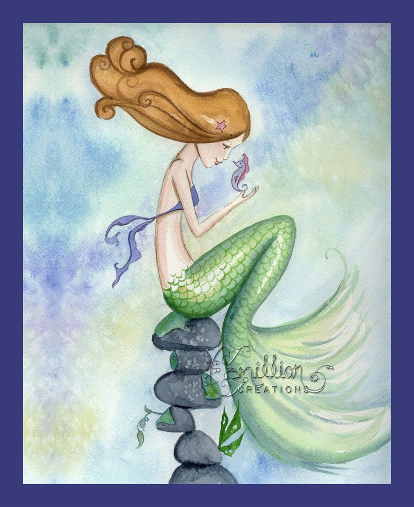 HELLO TO YOU Seahorse Mermaid print from Original Painting By Grimshaw