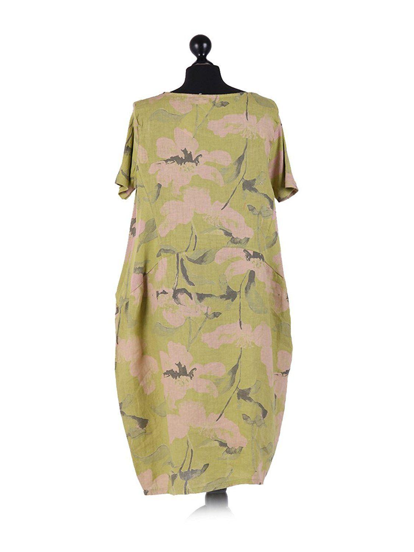 LushStyleUK New Ladies Italian Floral Print Linen Dress Women ...
