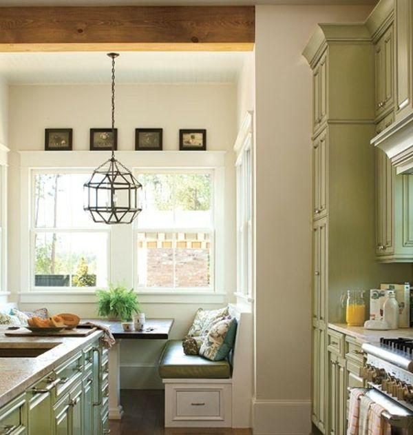grüne-Küche-klassischer-Stil-Sitzecke Lovey Homey ^__^ Pinterest - einrichtungsideen sitzecke in der kuche