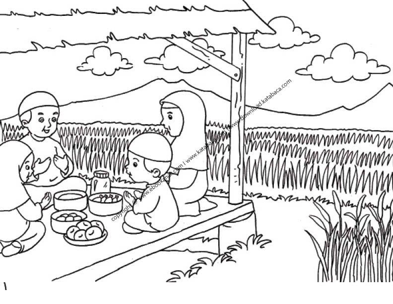 Gambar Mewarnai Berdoa Sebelum Makan Di Saung Dekat Sawah 27