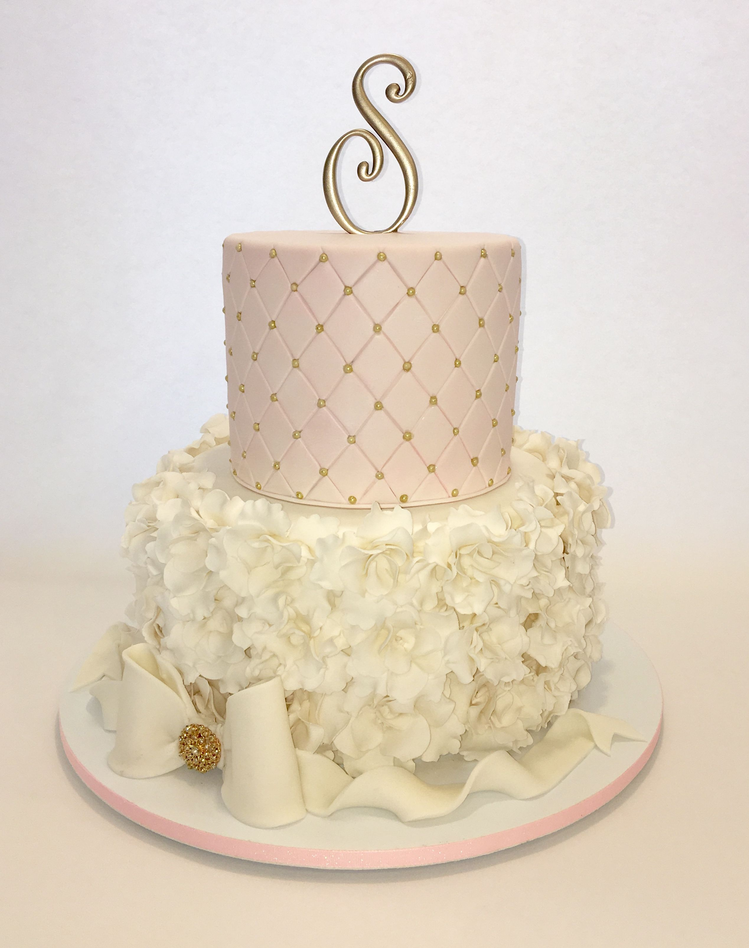 Ruffles and Quilting Sweet 16 Cake Light pink white and Gold
