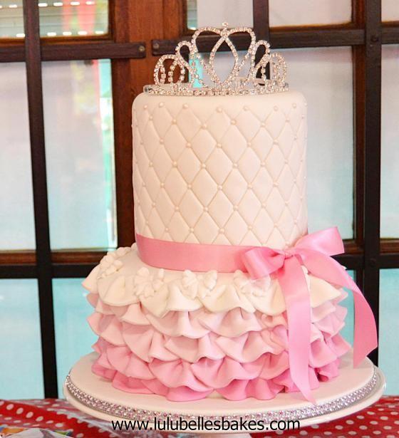 Pink ombre ruffle Princess cake with diamanté Tiara on top