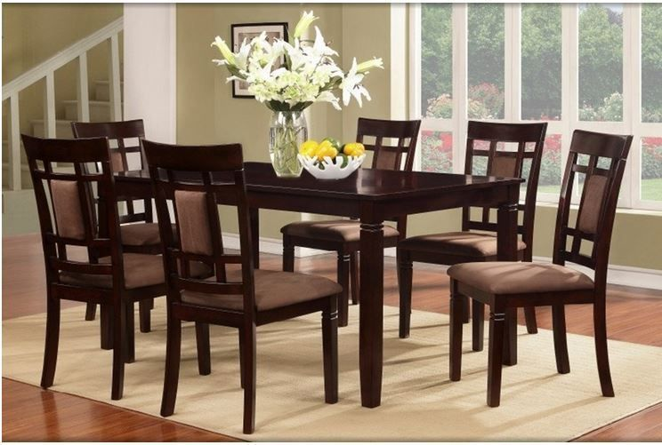 Dining Room Table Set Dark Cherry Solid Wood Furniture 7 Piece 1 Table 6 Chairs Unbranded Dining Room Sets Solid Wood Dining Table Dining Table