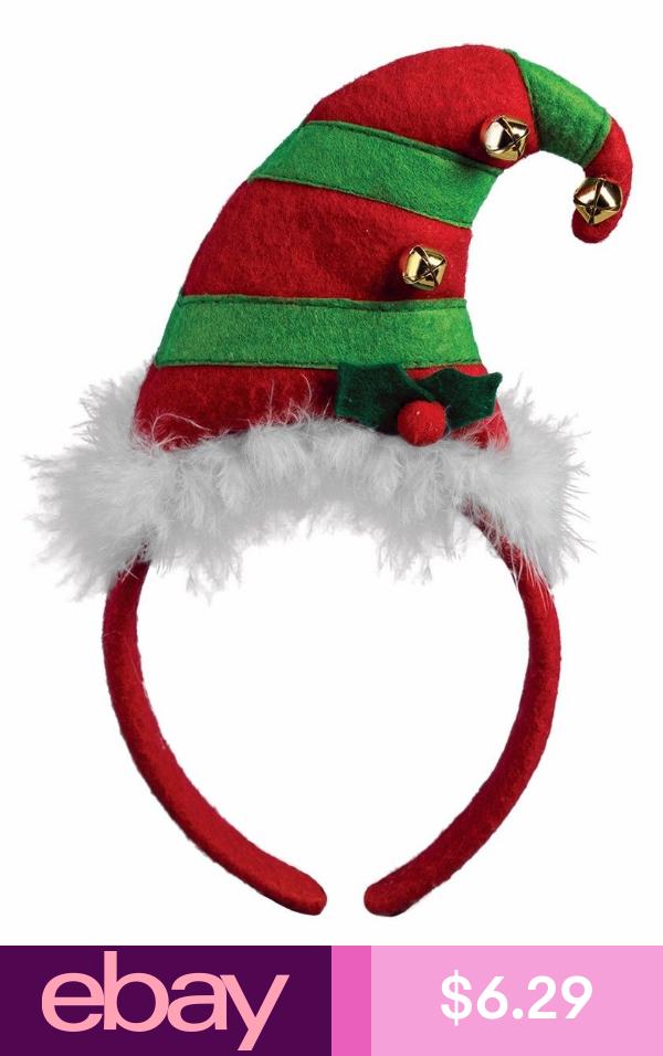 Green Red Elf Mini Headband Hat Bells Mistletoe Santa Helper Costume Accessory Mini Headband Santa S Helper Costume Christmas Headband
