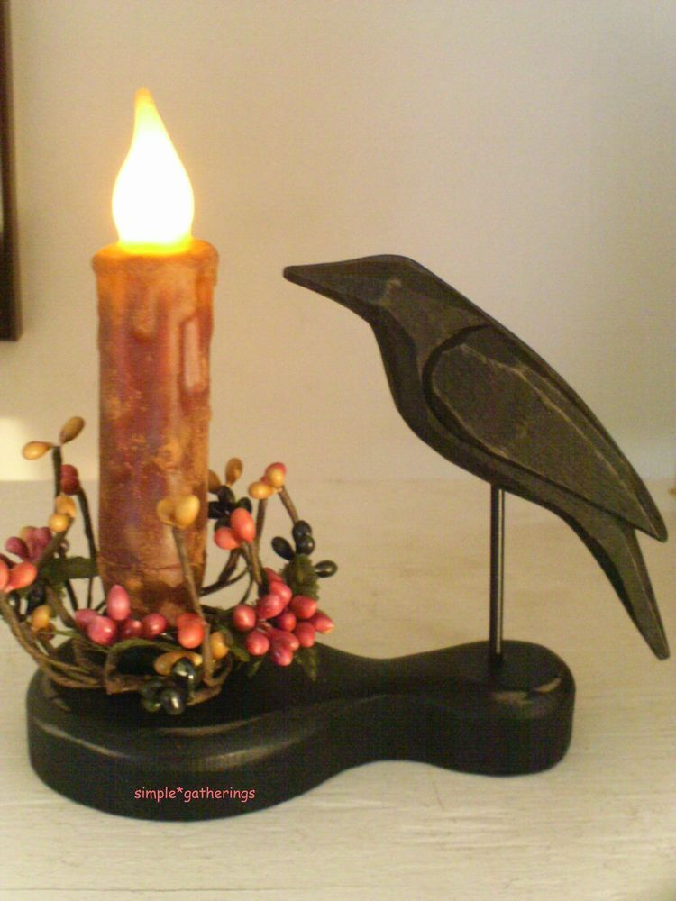 """Primitive Crow Holder & 4"""" BURGUNDY TIMER Candle & Pip Ring Set, Grungy Grubby ~ $15.50 plus shipping ~ more candle sets available in our eBay store."""