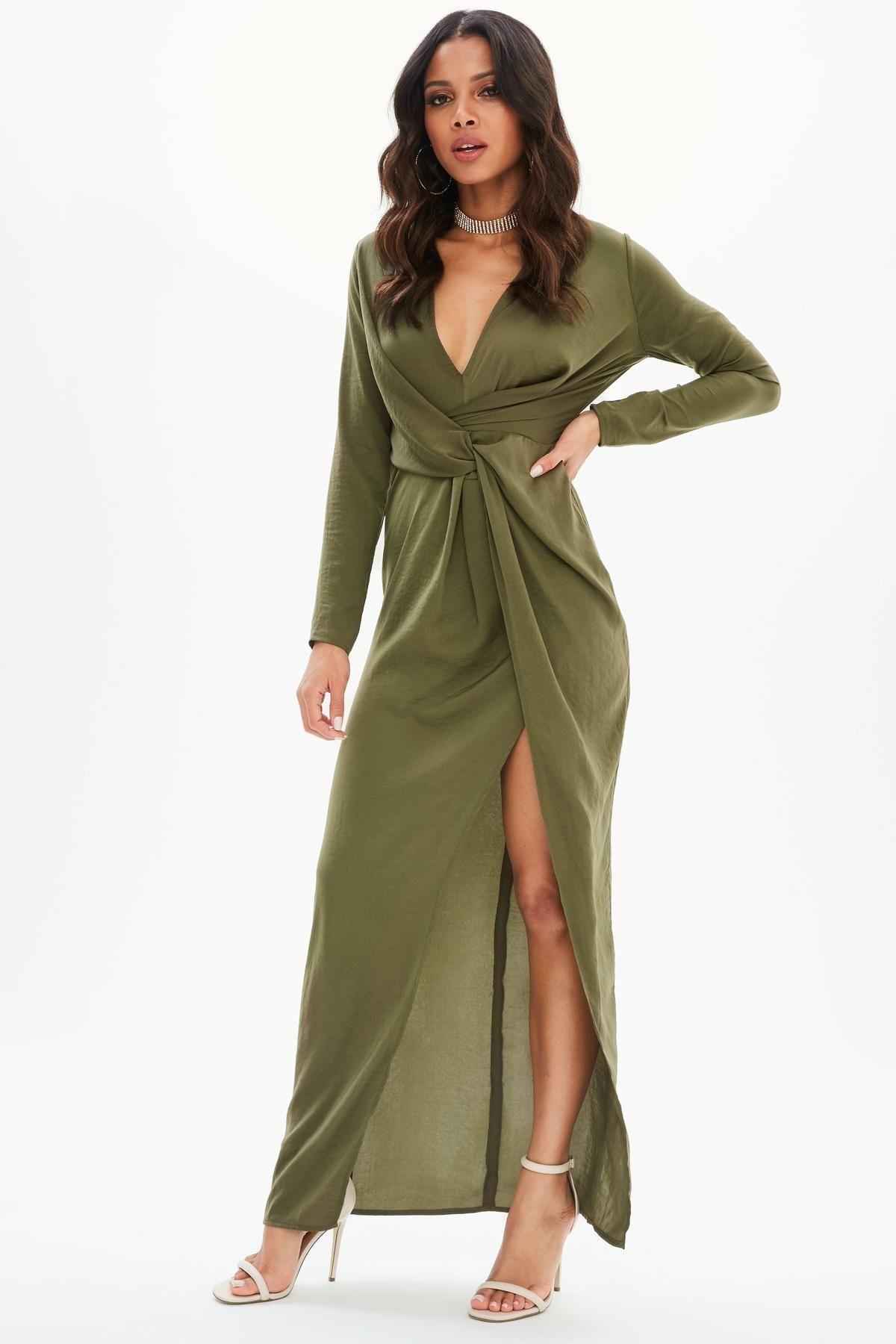 Khaki Satin Twist Front Split Maxi Dress | Missguided Australia ...