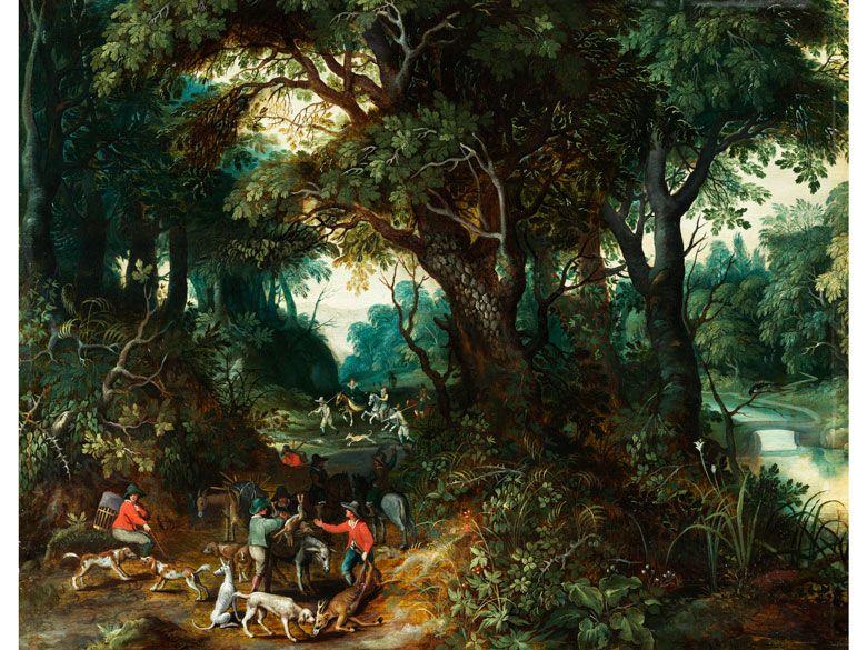 WALDINNERES MIT REICHFIGURIGER JAGDSZENERIE Öl auf Holz. 43 x 53 cm. Die Autorschaft des hochrangigen Gemäldes dürfte sich nach eingehender Untersuchung...
