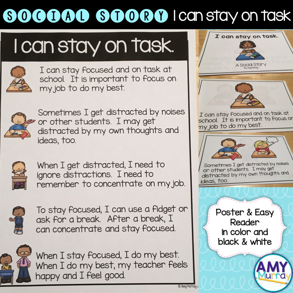 Social Story I can Stay on Task | Kindergarten Classroom Management ...