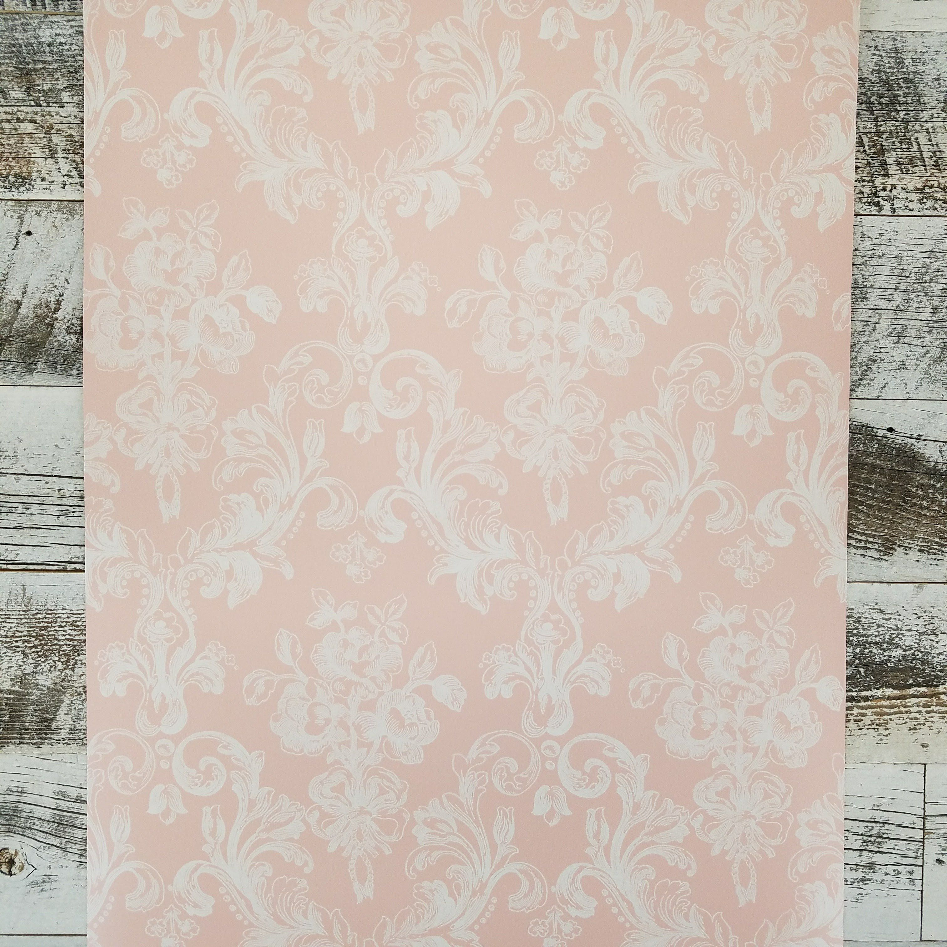 Victorian Damask in White on Pink GC29824 Wallpaper Pink