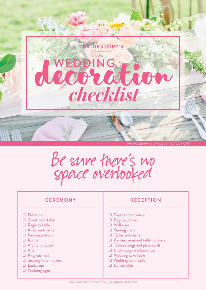 Wedding decorations checklist  All You Need to Know About Wedding Decorations