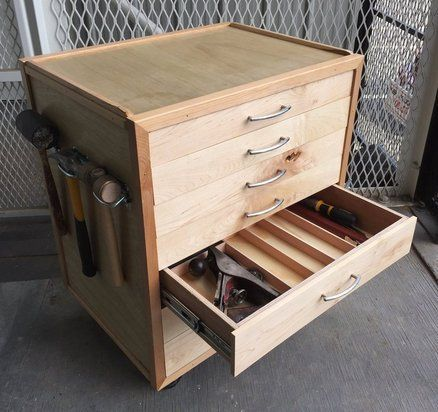 Rolling Tool Chest In 2020 Wood Tool Box Wooden Tool