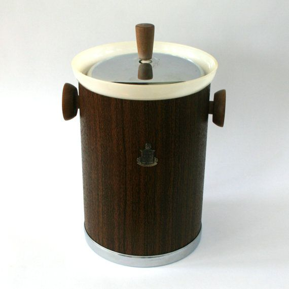 Vintage Faux Bois Ice Bucket. Kromex. Chrome. Wood Handles. Mid Century. Lidded. Champagne Wine Cooler. Bar. Barware. Beverages. Nightlife.