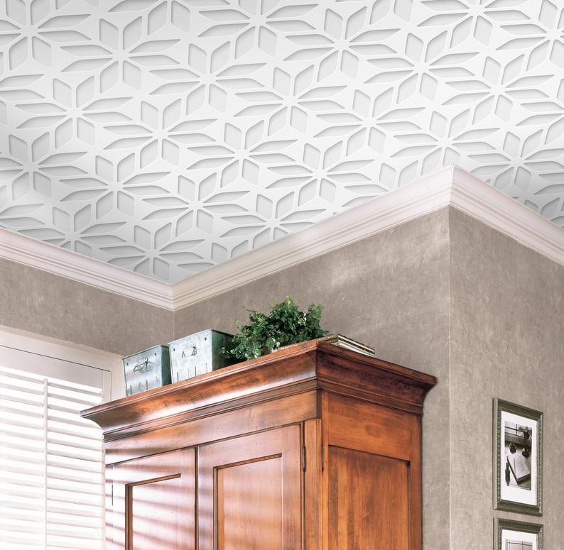 Geometric Flower Ceiling Wallpaper White Ceiling Decor Non Etsy Flower Ceiling Traditional Wallpaper Paper Wallpaper