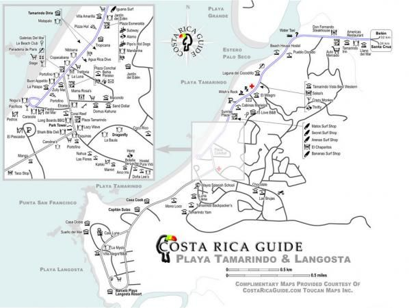 Tamarindo and playa langosta map showing local hotels resorts tamarindo and playa langosta map showing local hotels resorts restaurants and bars in a sciox Choice Image