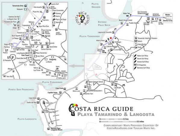 map of tamarindo costa rica Tamarindo And Playa Langosta Map Showing Local Hotels Resorts map of tamarindo costa rica