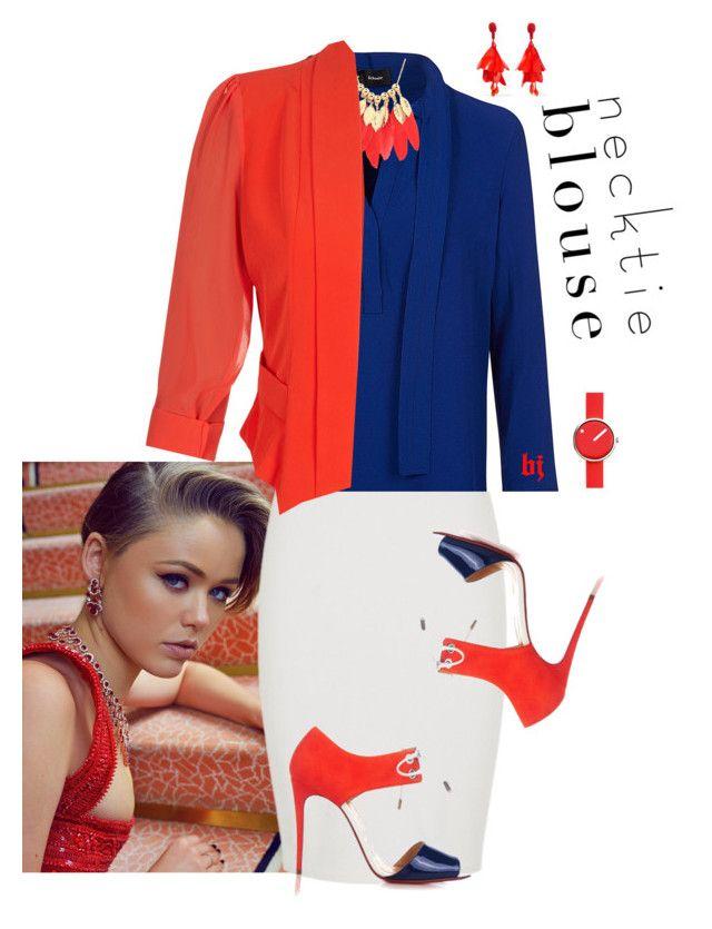 """Fall Trend--Necktie Blouse"" by jacksondobe ❤ liked on Polyvore featuring Proenza Schouler, City Chic, Christian Louboutin, Rosendahl and Oscar de la Renta"