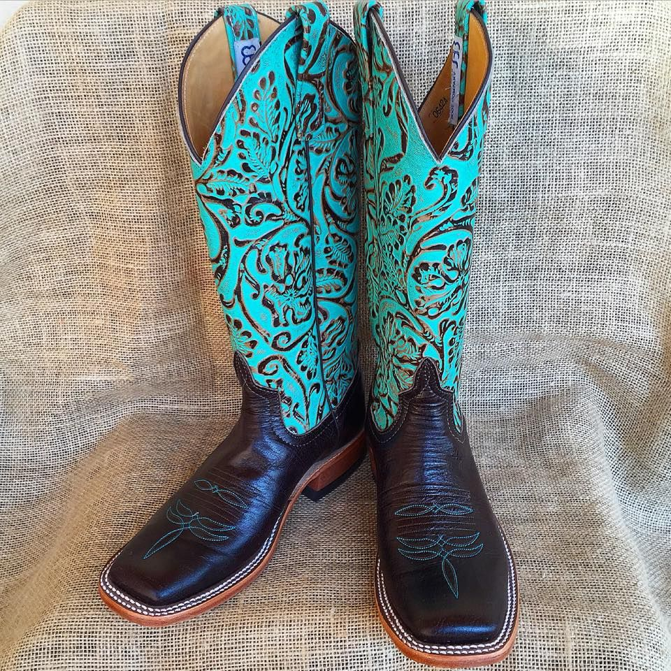 Gorgeous NEW turquoise tooled ladies Anderson Bean boots! $328.95! NEW ladies bronze and chocolate Ariat boots! $141.95!  Stop by, visit www.facebook.com/chickelms or call 254-968-3920!