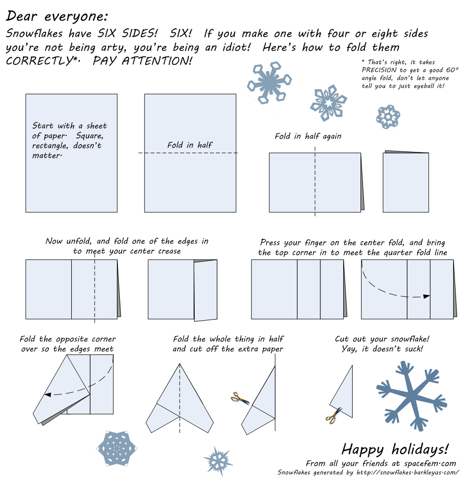 how to fold a six sided snowflake