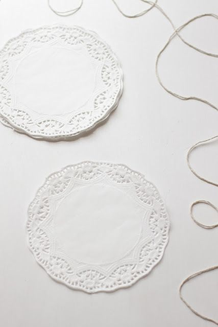 1.    2.  3.  4. here is a tutorial for a super easy and super cute snowflake garland! 1. materials: small paper doilies (at least 6)   str...