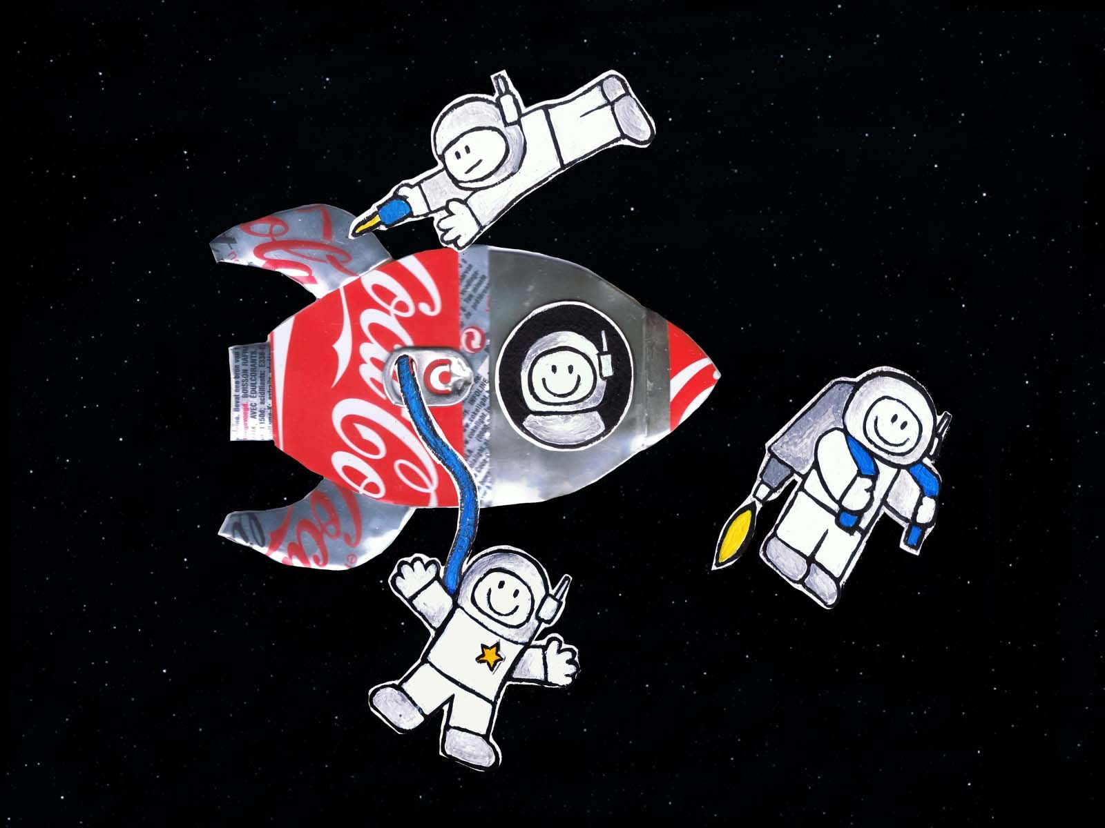 Outer space spaceship made out of 2 coca cola cans my for What is outer space made of
