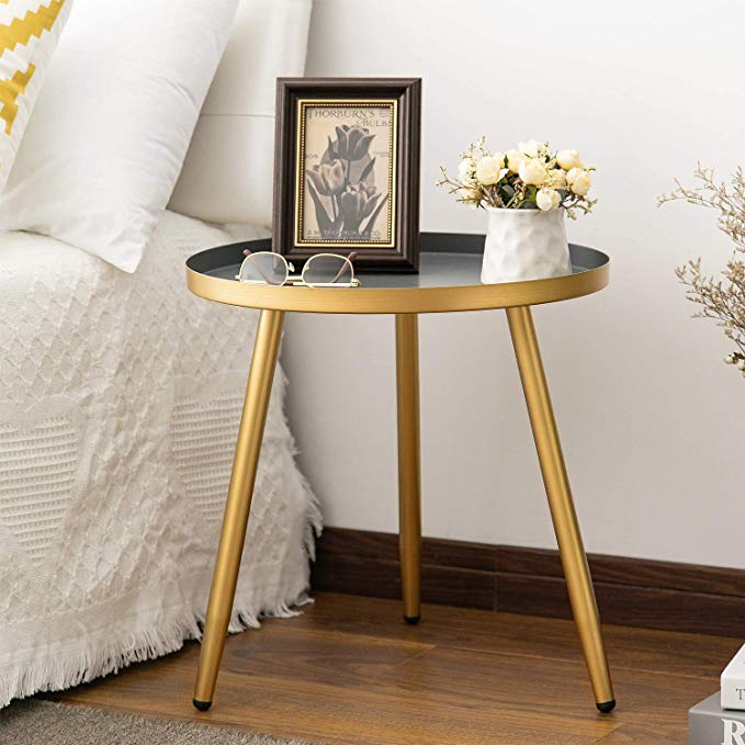Amazon Com Round Side Table Metal End Table Nightstand Small