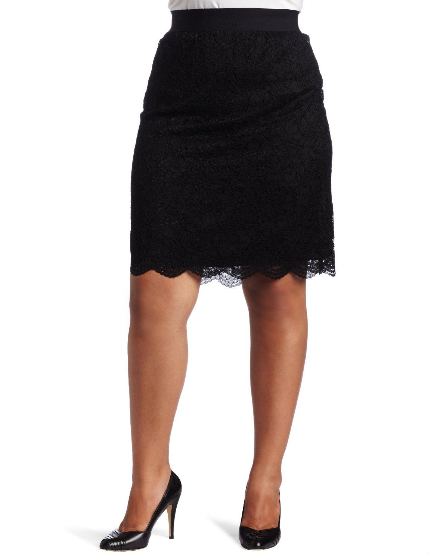 AK Anne Klein Women's Plus Size Lace Slim Skirt