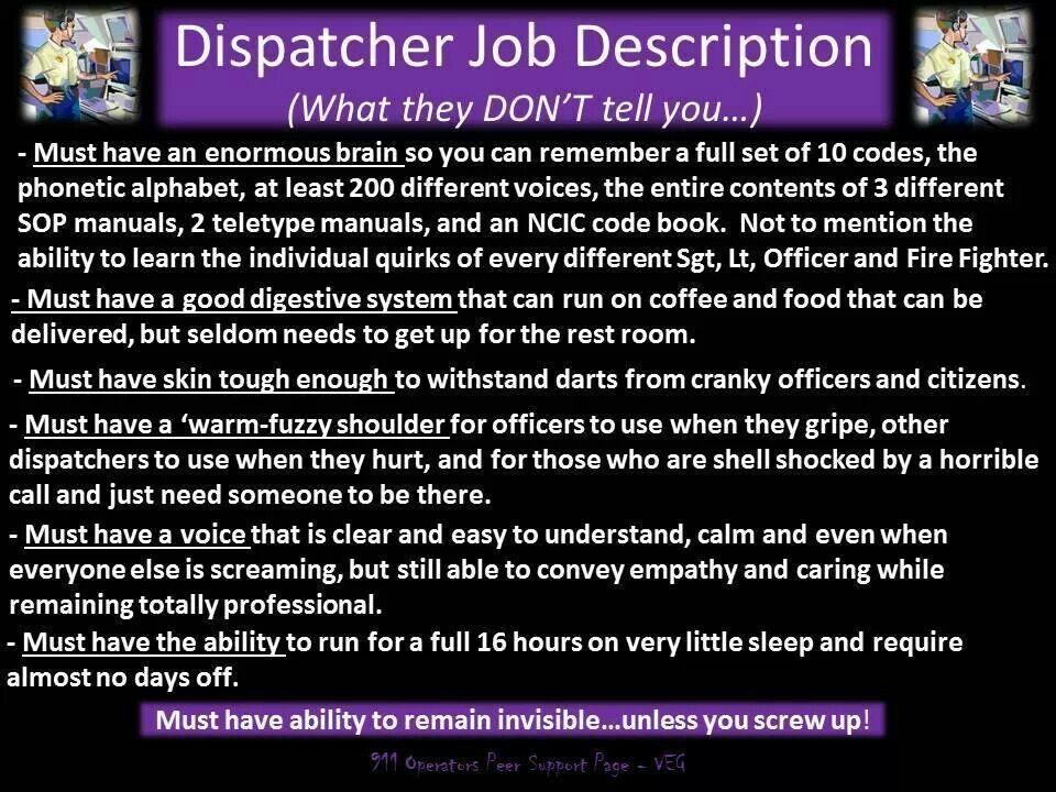 The fine print... 911 dispatcher, Job, Dispatcher quotes