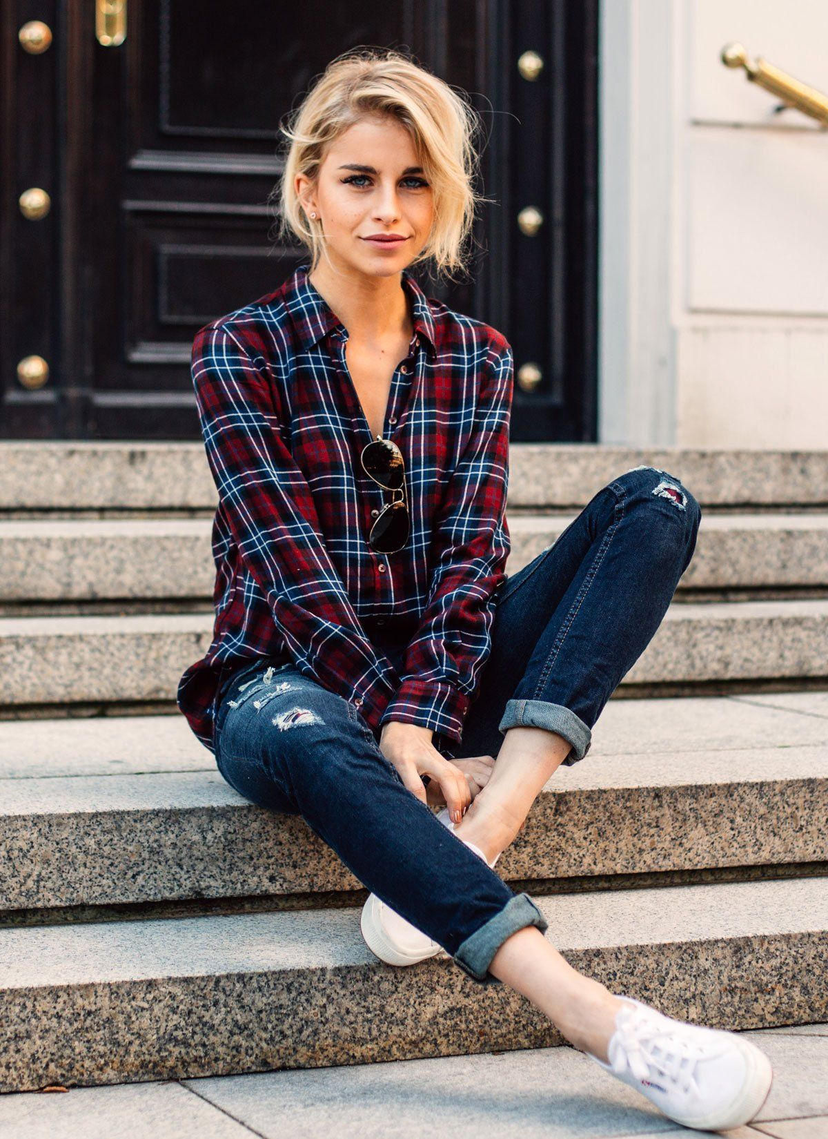 Woman red flannel outfits  Styletrend Herbst Lässig im Karohemd  Clothes Fashion and Wardrobes