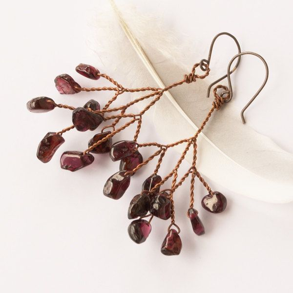 Copper tree earrings - wire wrapped garnet jewelry. arrabeska , via Etsy.