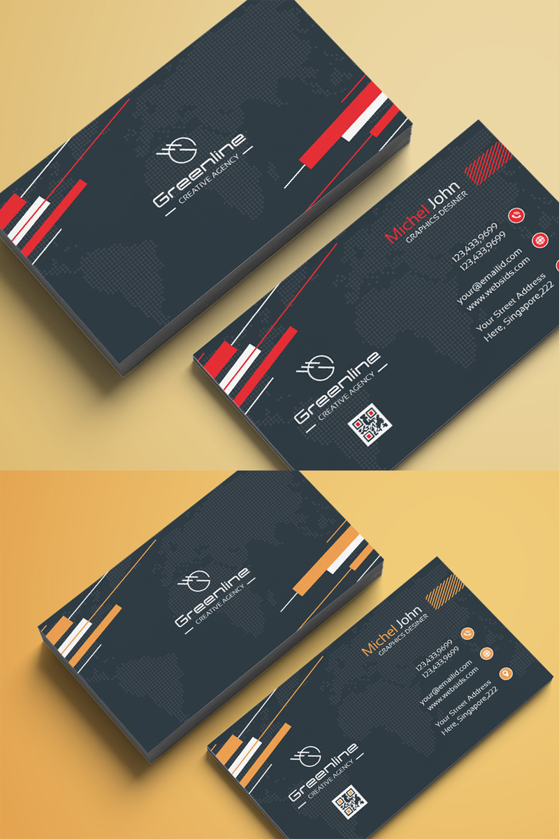 Business Card Template Design With World Map Background Grey And Red Beautiful Business Card Business Cards Corporate Identity Elegant Business Cards Design