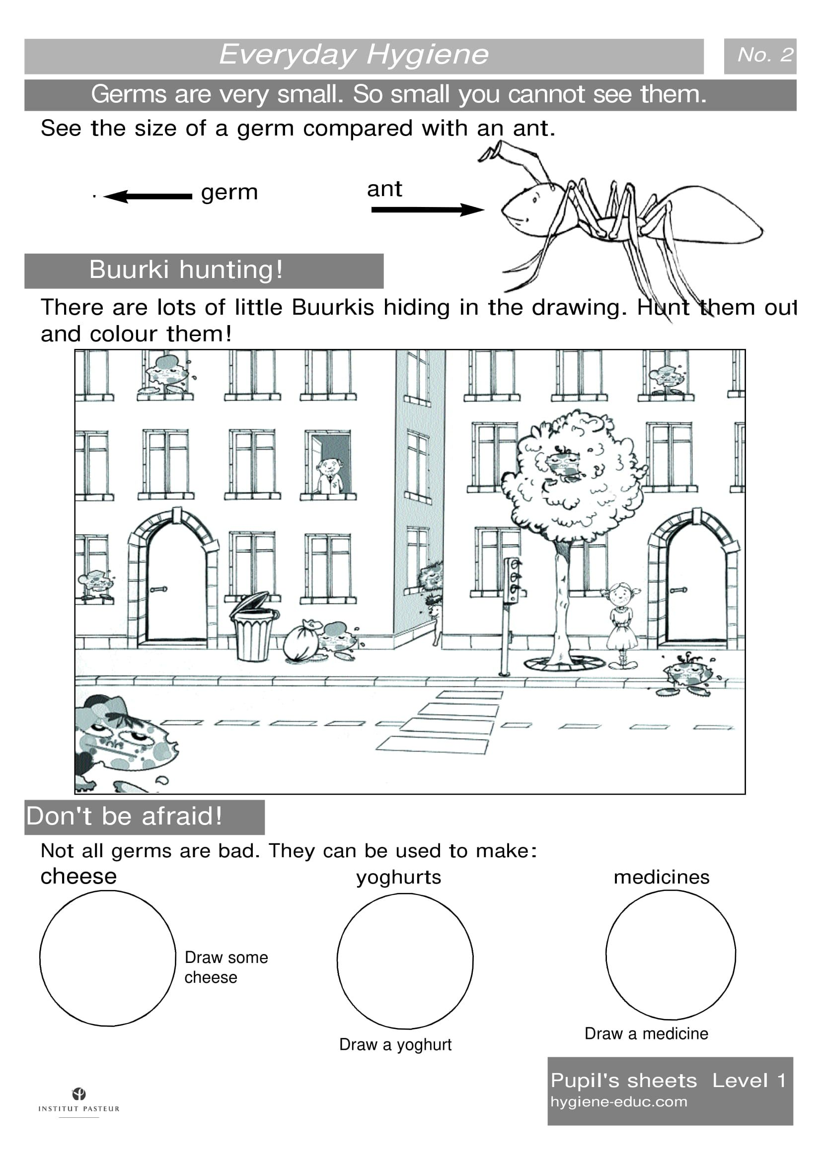 Everyday Hygiene Worksheets Level 1 Worksheets 2 Germs Are