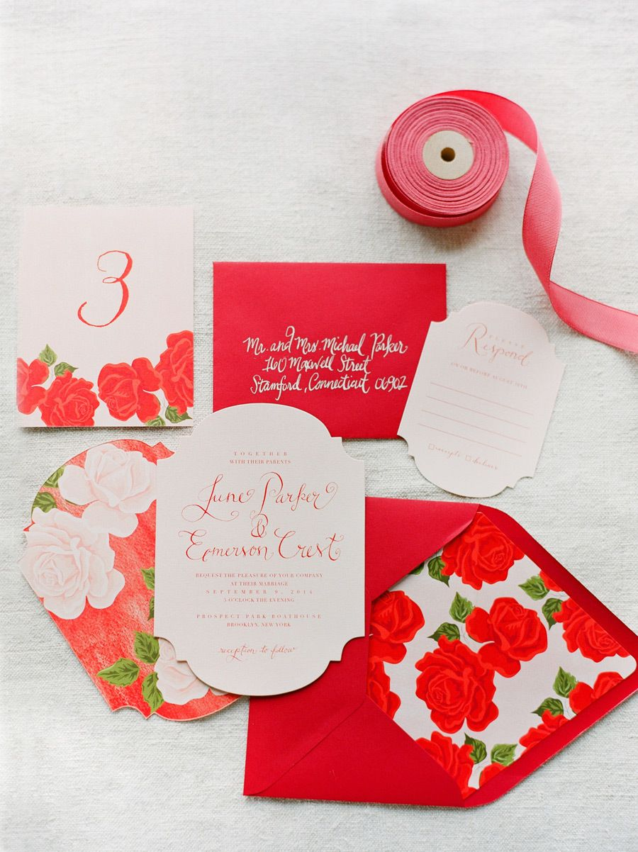 next day wedding invitations%0A Romantic Red Wedding Inspiration