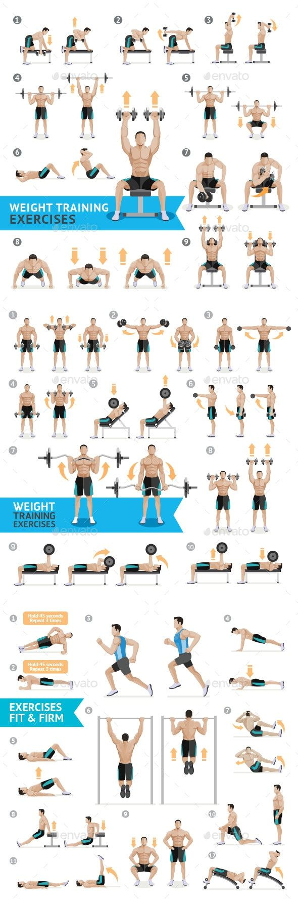 Dumbbell Exercises and Workouts Weight Training by graphixmania | GraphicRiver #dumbbellexercises