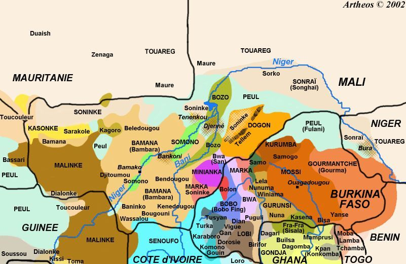 Burkina Faso, ethnic groups' areas | Burkina Faso | Map, French