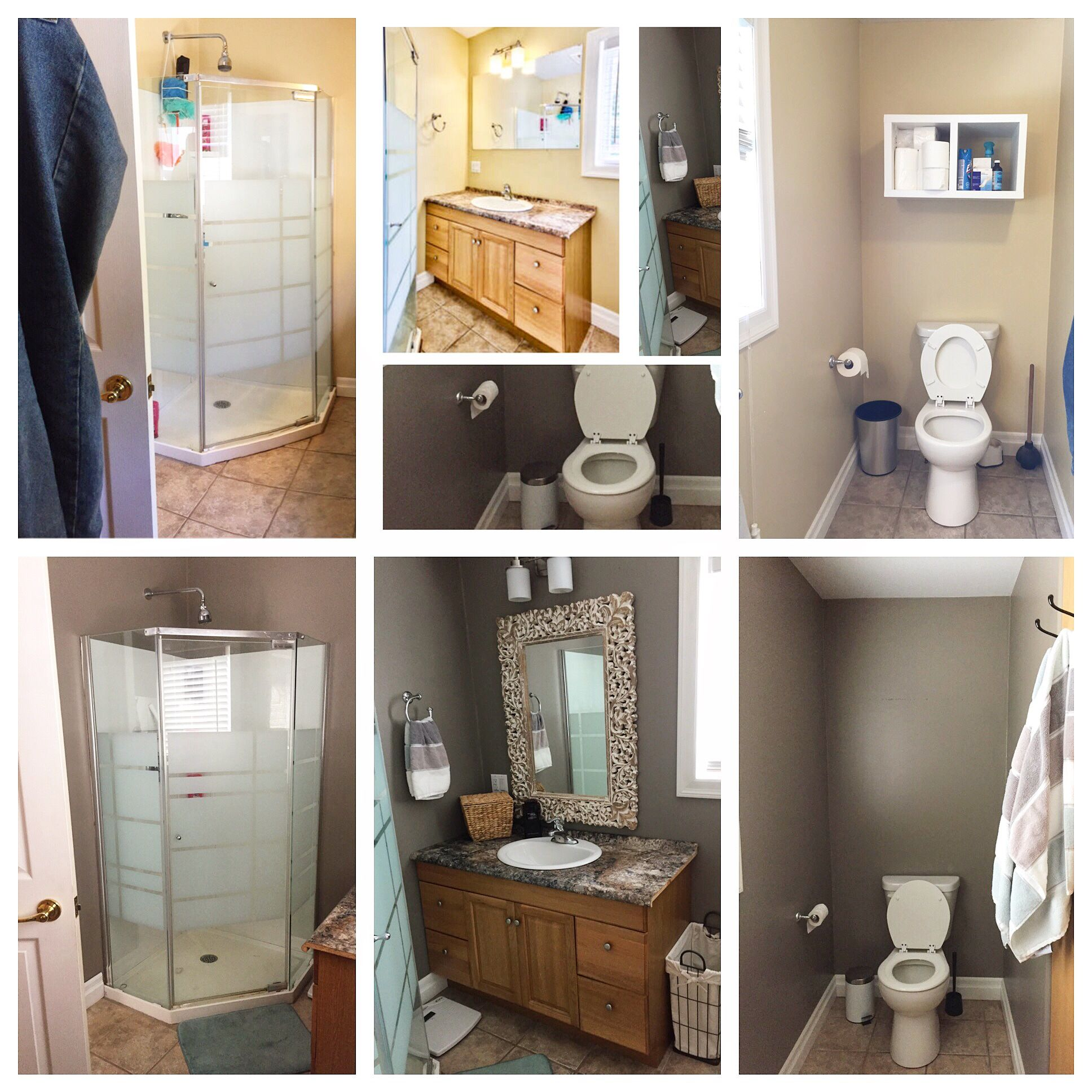 Bathroom update! Paint: chocolate fog Mirror: homesense Towels ...