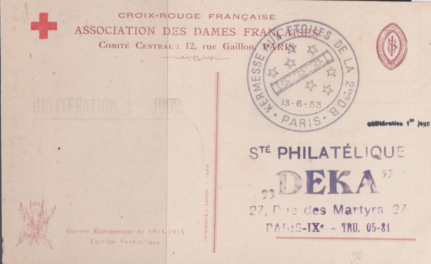 Croix Rouge Paris 13 French Red Cross Society Postcard Paris June 13 1953 Red