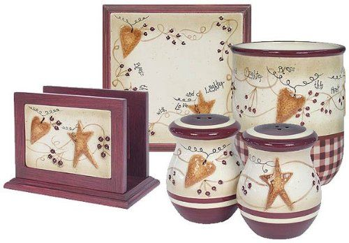 Primitive Star And Hearts Pip Berries Canister Set Salt And Pepper Napkins Holder And Trivot Primitive Kitchen Decor Primitive Decorating Primitive Crafts