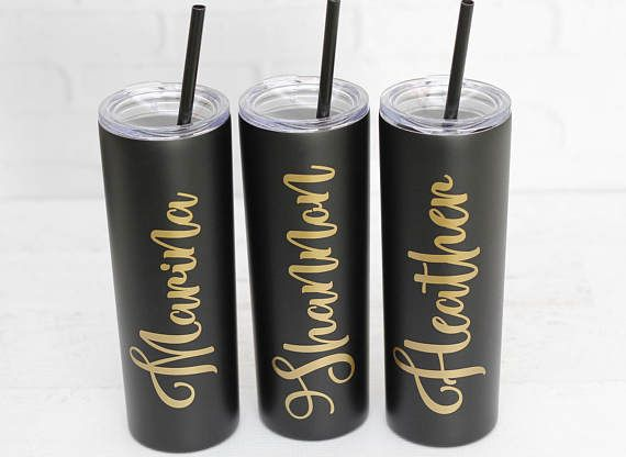 Skinny Stainless Steel Tumbler // Personalized Stainless