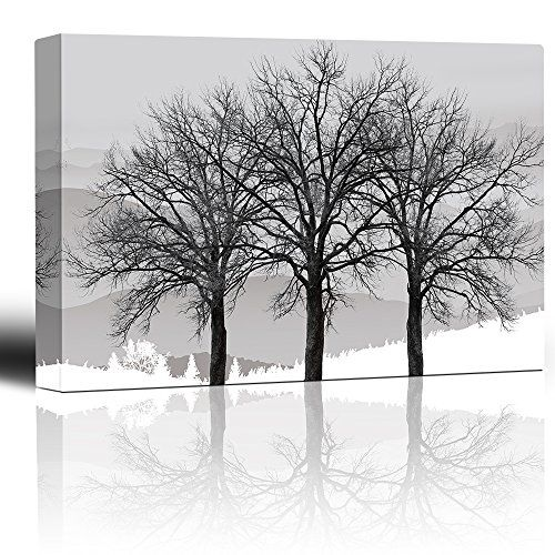 Wall26 Black And White Trees In Winter Gray Landscape Photo And Illustration Eyecatching Wall Decor Canvas Black And White Tree Poster Prints Winter Trees