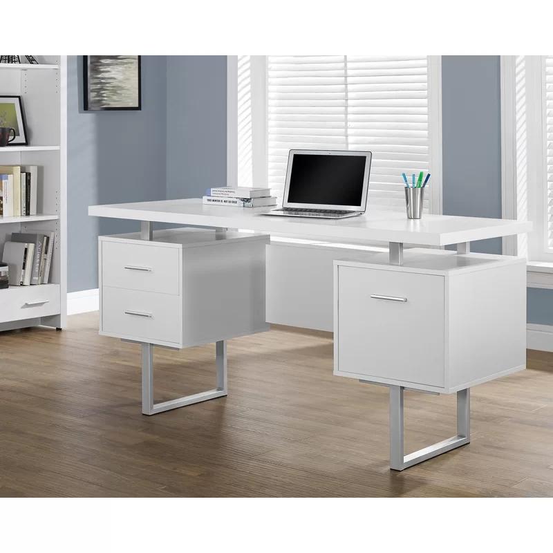Latitude Run Rundall Writing Desk Reviews Wayfair In 2020 Metal Office Desk Modern White Desk White Desk With Drawers