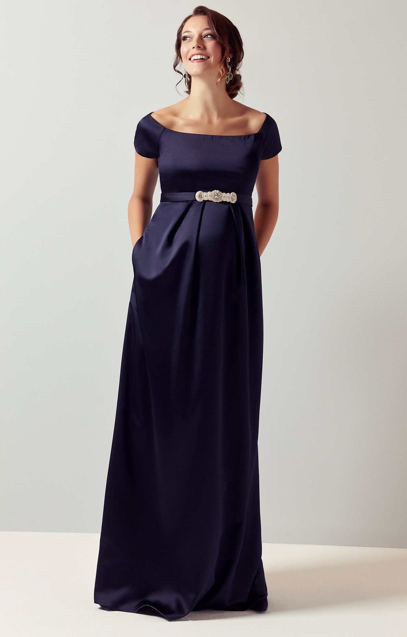 8a5686229e If you re looking for a statement dress then our Aria long midnight  maternity gown will guarantee you a show-stopping entrance.
