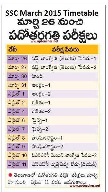 SSC March 2015 Exams Timetable, Scheme and Schedule AP and - class timetable