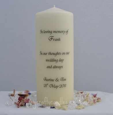 Weddings Personalised Memorial Candle