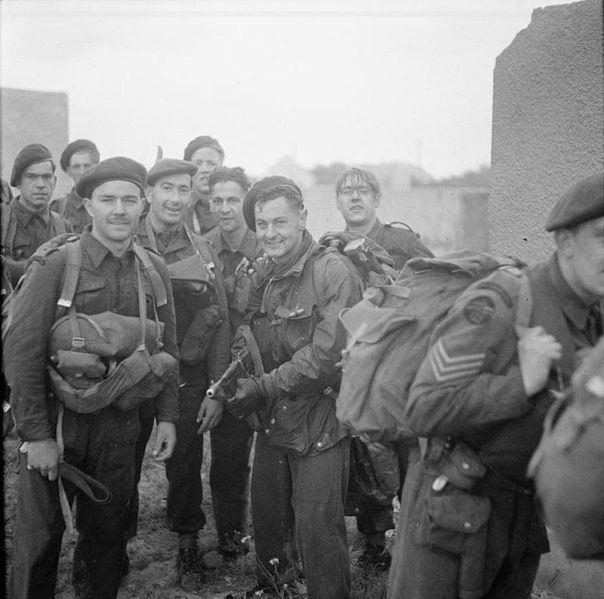 Commandos of 1st Special Service Brigade after landing on Queen Red beach, Sword area, 6 June 1944.
