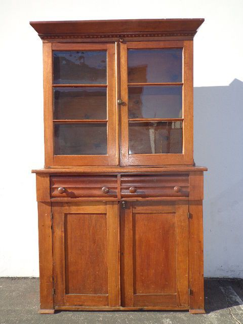 Antique 1850 Hutch Cabinet Sideboard Primitive Shaker Walnut Wood China  Cabinet | eBay - Antique 1850 Hutch Cabinet Sideboard Primitive Shaker Walnut Wood