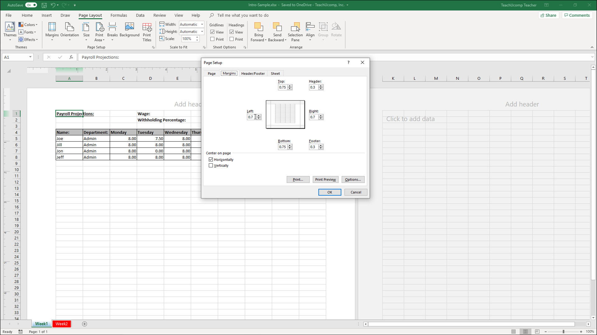 Set Margins In Excel