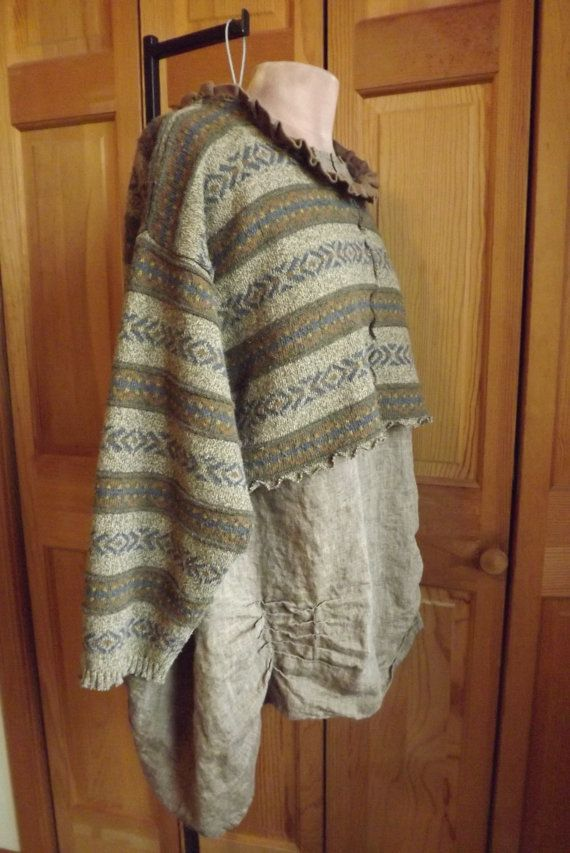 Lagenlook Rustic Peasant Sweater  Tunic Boho Upcycled Cropped Ruffled One Size Fits Many